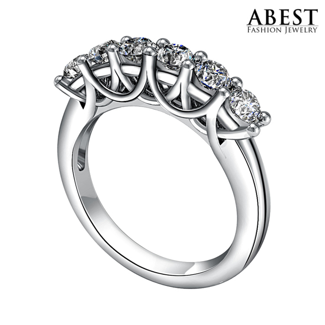 Starry Exaggerated Fashion Sona CZ Diamond Ring Drilling Row Platinum Plated Wedding Ring Female Engagement Bridal Bands Rings