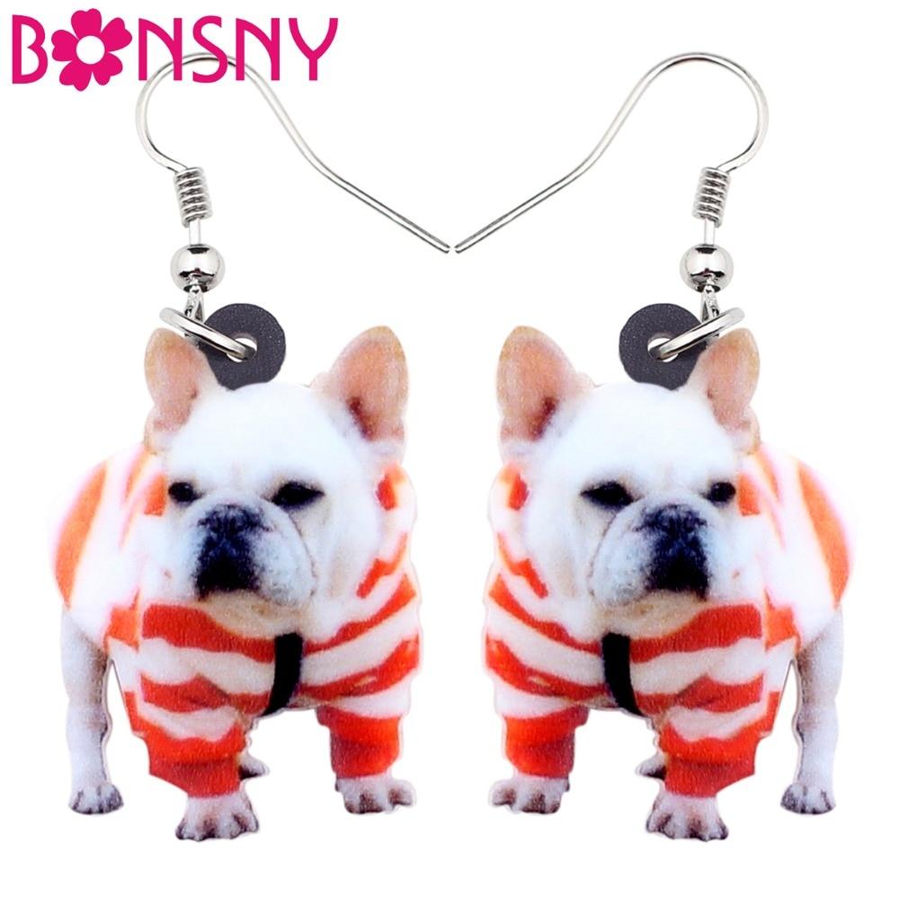 Bonsny Acrylic Sweet French Bulldog Terrier Dog Earrings Big Long Dangle Drop Animal Jewelry For Women Girl Ladies Kid Gift Bulk