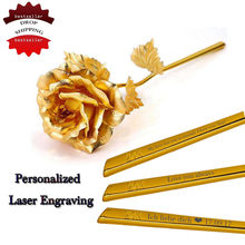 DROP SHIPPING 24k Gold Foil Plated Rose Wedding Decoration Golden Rose Gold Dipped artificiales artificial flower Personalized(China)