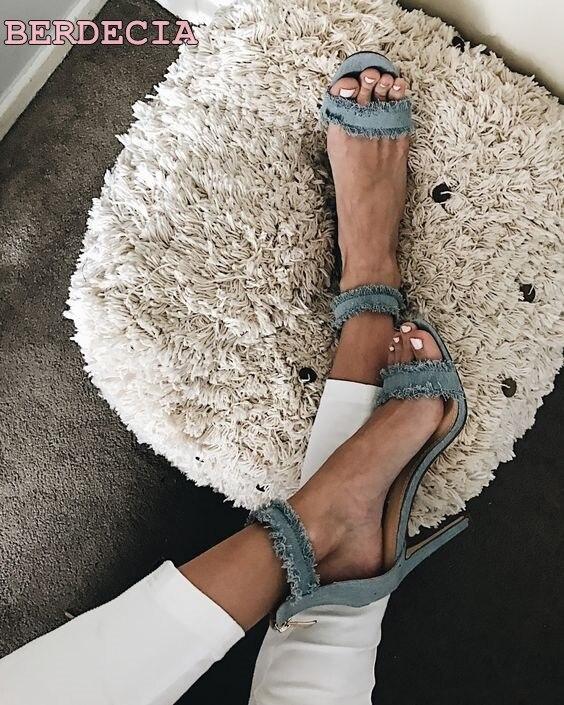 light blue denim open toe sandals single buckle young woman shoes tassel high heel sandals unique design thin heel sandals