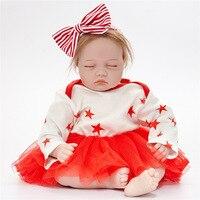 22 Полный Средства ухода за кожей винилсиликоновых Reborn для маленьких девочек Куклы реалистичные платье для новорожденных подарки