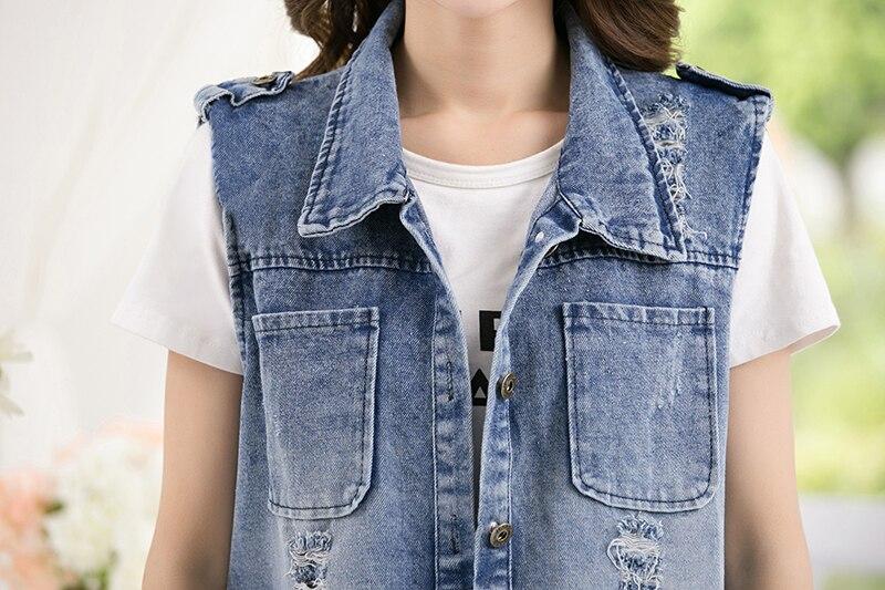 Colete jeans solto sem mangas plus size,