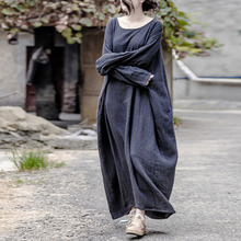 Maxi Dress Robes Linen Winter New Women Johnature Autumn Cotton Loose O-Neck Vintage