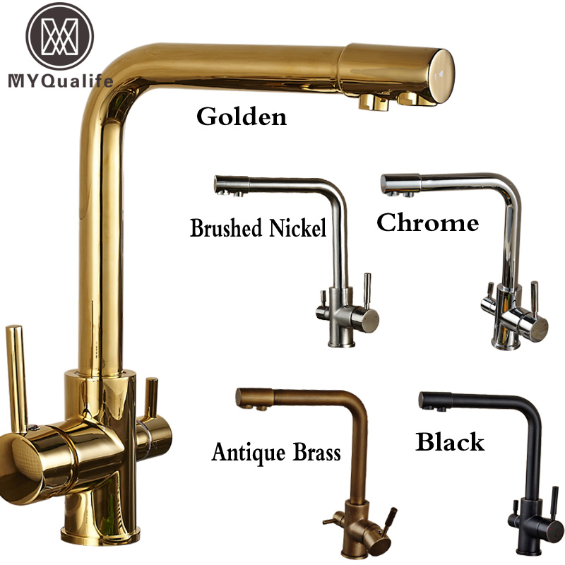 Luxury Dual Spout Bathroom Kitchen Purification Faucet Drinking Tap Pure Water Faucet Dual Handle Hot and Cold Mixer Taps dual spout kitchen purification faucet drinking tap pure water faucet hot and cold mixer taps chrome brushed nickle gold