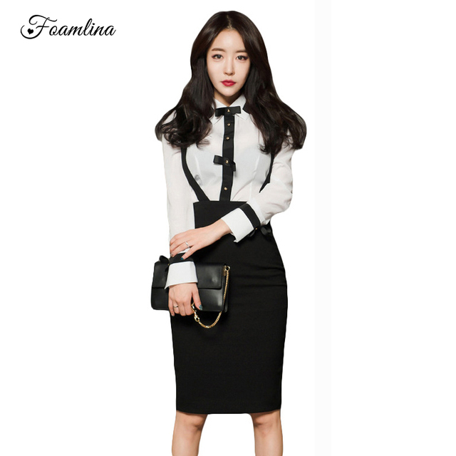 eca12983ac16e US $40.3 |Foamlina Office Ladies Bodycon Dress Set Women Two Pieces Sets  Long Sleeve White Shirt and Suspender Pencil Skirt Suits-in Women's Sets  from ...