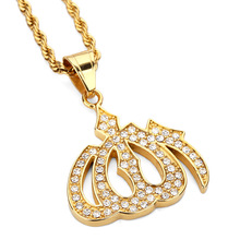 Happy Chanukah Golden Islamic Allah Muslim Necklaces Men Women Hip Hop 1 Row Tennis Crystal Chain Bling Jewelry Gifts Pendants