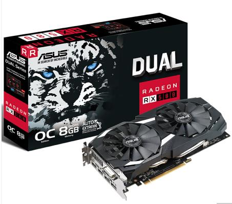 Asus DUAL-RX580-O8G 8GD5 256bit Snow Leopard VR Game Graphics Used Like New