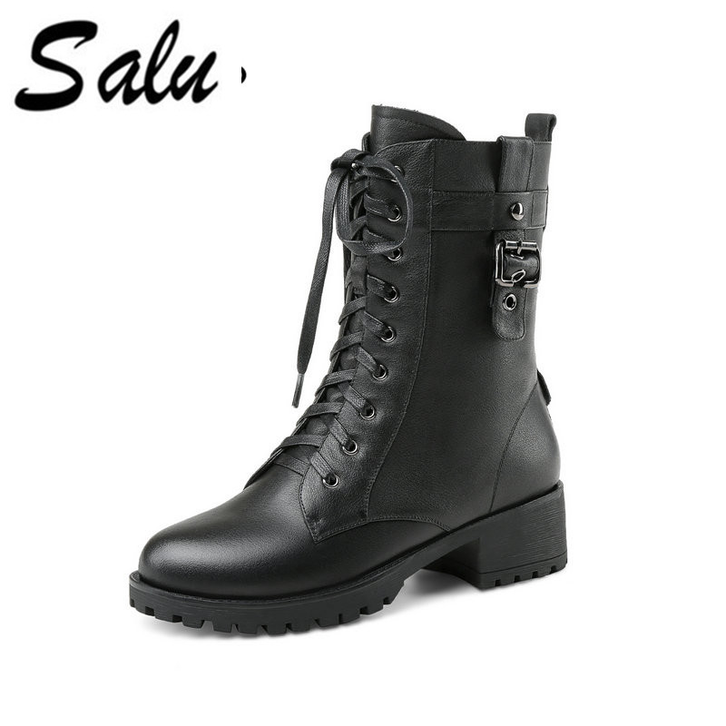 Salu Full Grain Leather Winter Boots Shoes Woman Lace-up Zipper Closure Boots Short Plush Handmade Ankle Shoes цены онлайн
