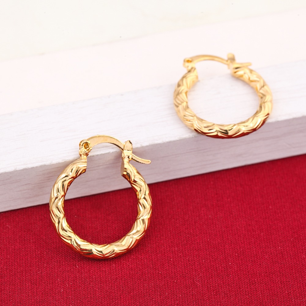 Cheap Golden Earrings Girls Dubai Gold Turkish Egyptian Algeria ...