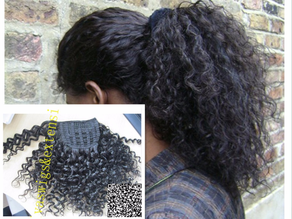 14inch Afro Kinky Curly Weave Ponytail Hairstyles Clip Ins