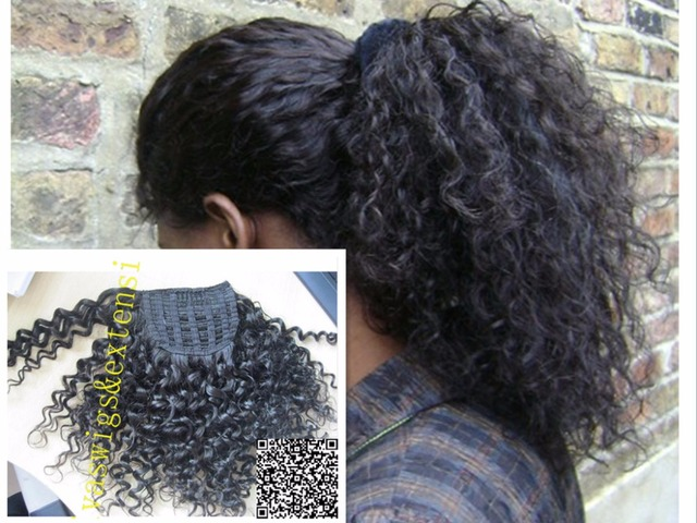 14inch Afro Kinky Curly Weave Ponytail Hairstyles Clip Ins Natural