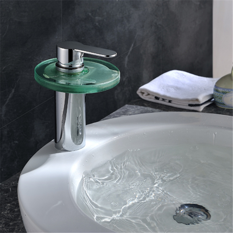 Retail Deck Mounted Oil Rubbed Bronze Finished Waterfall Glass Spout LED Basin Faucet LD8005-013B
