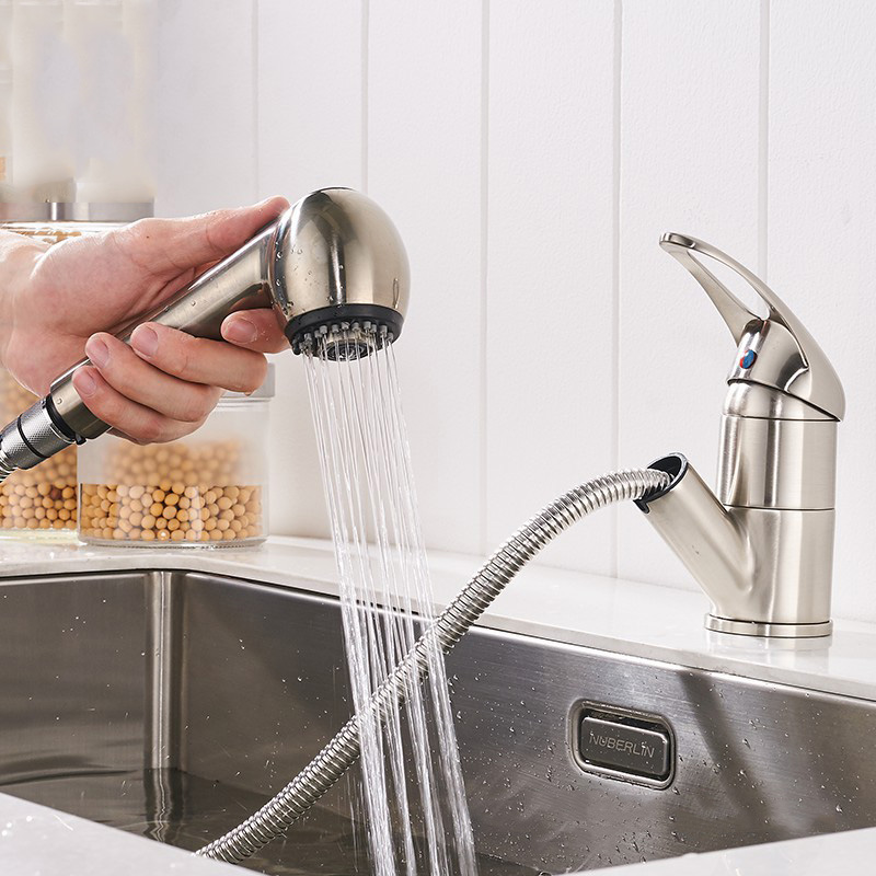4 Colors Single Lever Kitchen Faucet Pull Out Sprayer Prep Kitchen ...