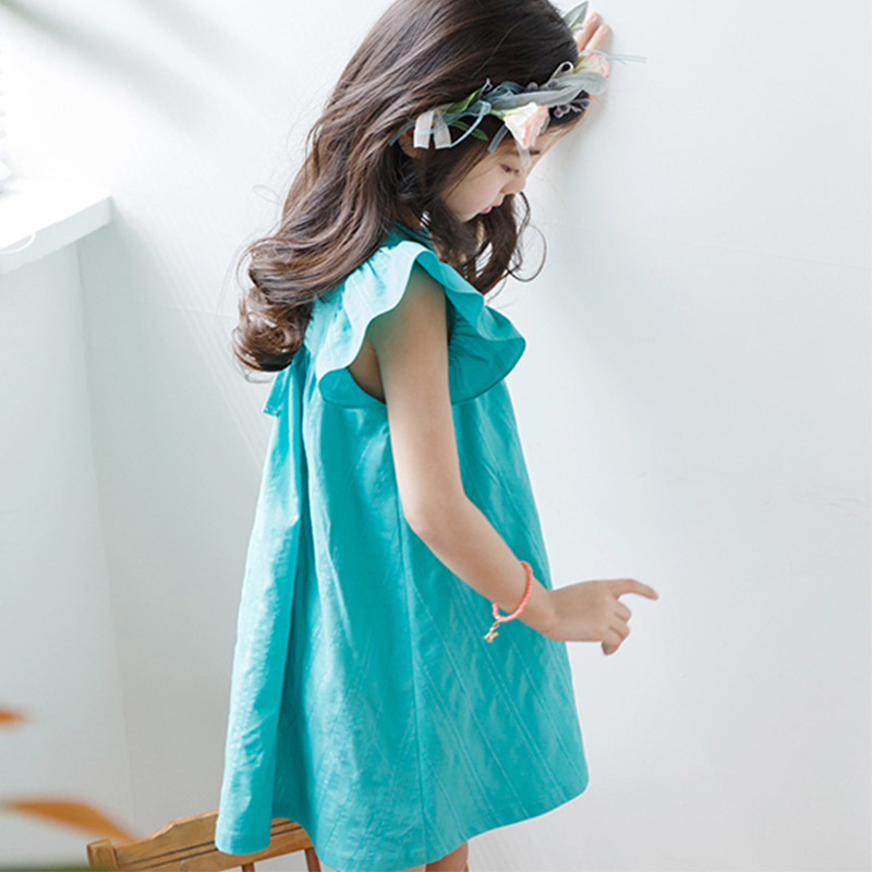 Girls Summer Dress Cute Mint Aqua Flutter Sleeves Spring Green Childrens  Frock Cool Style for Age 5678910 11 12 13 14 Years old-in Dresses from  Mother ... d81087b10