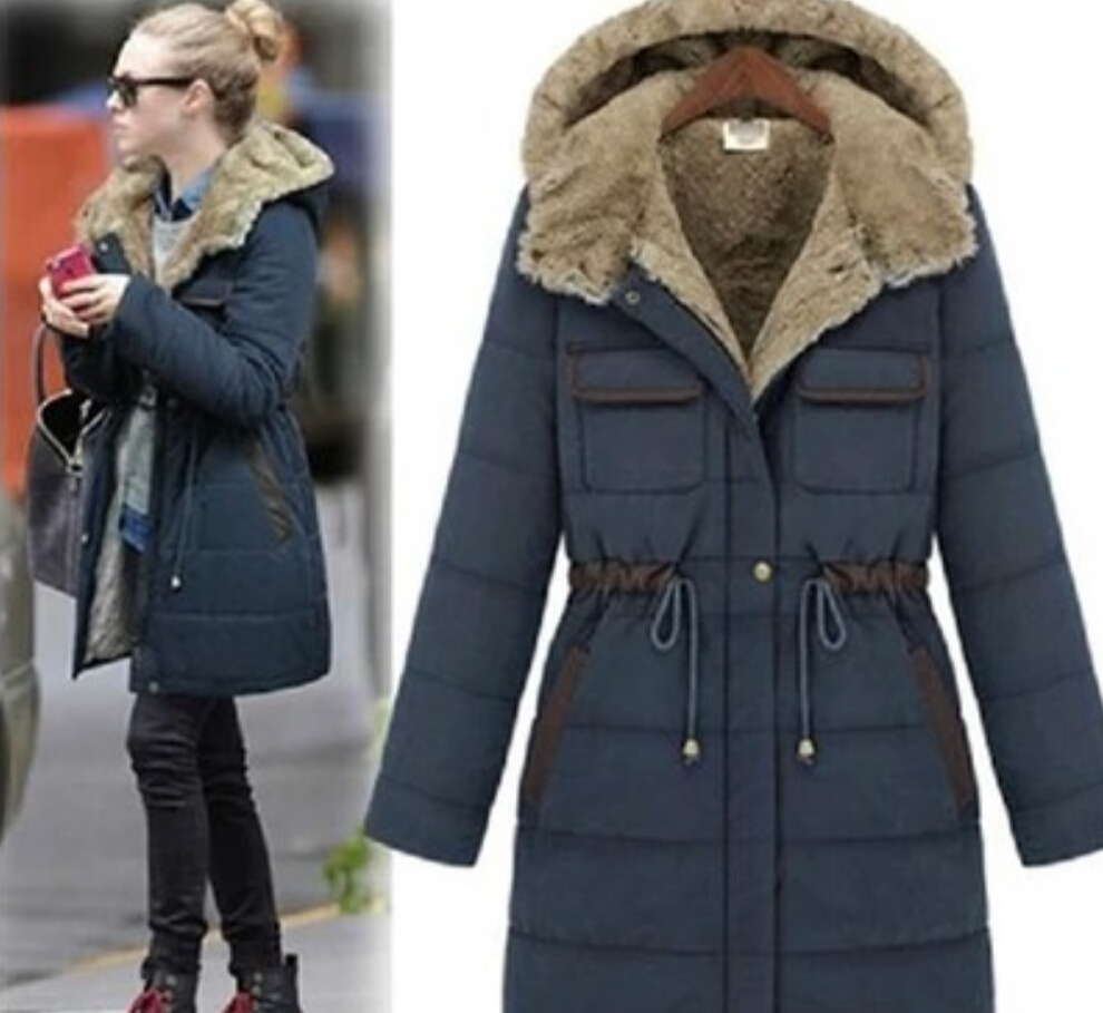 Europe New Style Fashion Women Winter Coat Fur Collar Hooded Thick