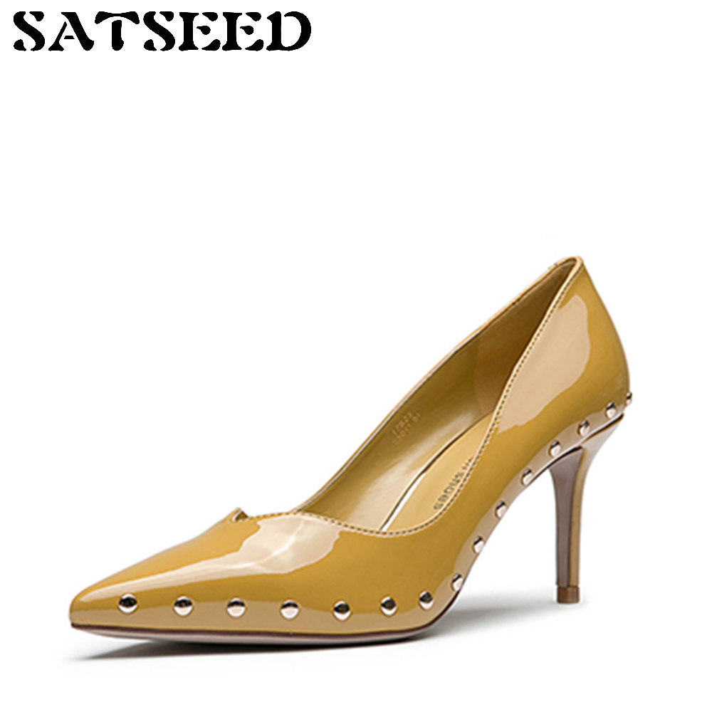 Occupation High Thin Heels Female Metal 2017 New Spring Autumn Pumps Fashion Leather Women Shoes Pointed Toe Slip On Fashion enmayer spring autumn women fashion party rhinestone beading pumps shoes pointed toe slip on thin heels large size 34 43 beige