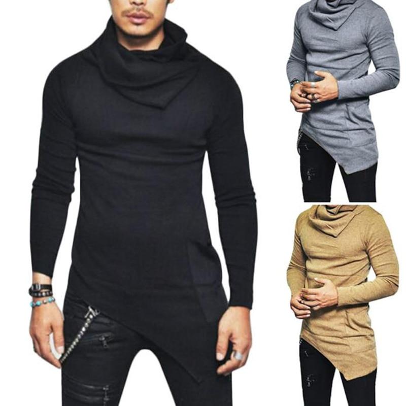 Men's Fashion Long Sleeve Slim Fit T Shirt Male Side Pocket Cowl Neck Irregular Hem Hipster Hip Hop T-Shirts
