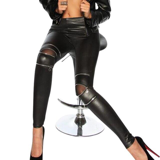 0257fefaffc US $8.42 34% OFF|Womens black leggings Leather Look Cut Out Leggings 3  zippers Super Skinny Jeggings Womens Jeans Leggings punk pants Trousers-in  ...