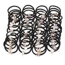 20Pcs Simple Black Headband Flower Heart Bow Hair Accessories for Women Girl Elastic Hair Bands Ponytail Holder Rubber Band Gum