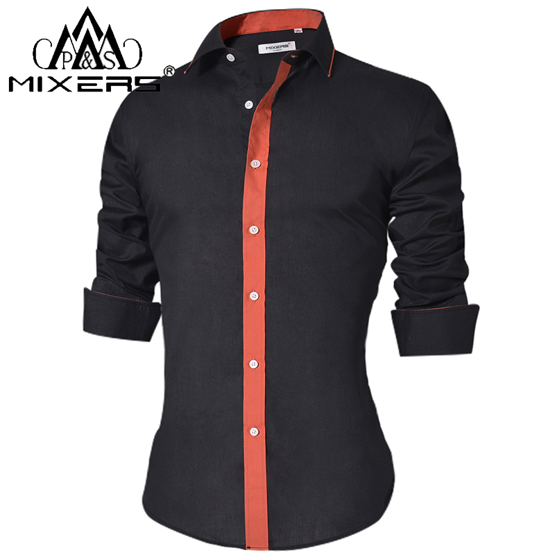 Fseason-Men Long Sleeve Plus-Size Pure Colour Casual Loose Button Down Shirt