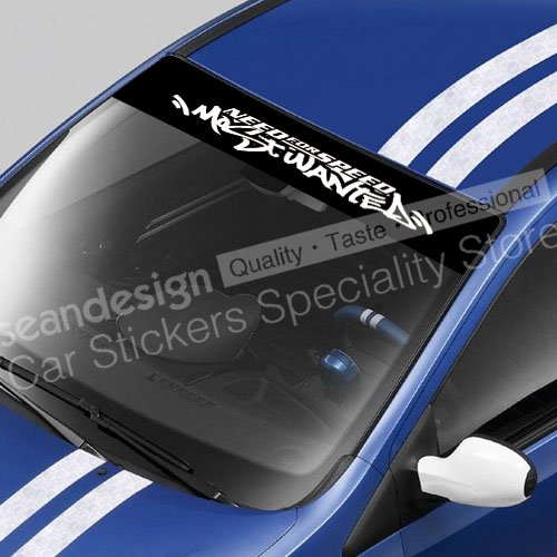 Need for Speed Most Wanted Windshield Decal Sticker PVC(BLACK+WHITE, BLACK+RED, BLACK+GRAY, BLACK+YELLOW, BLACK+GOLD colour) need for speed most wanted