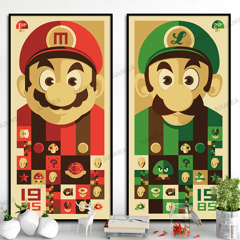 Super Mario Bros Classic Cartoon Game Posters And Canvas Print ...