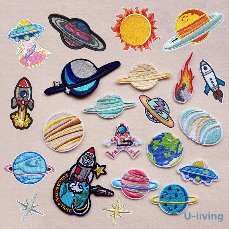 1pcs Space Universe Patch for Clothing Iron on Embroidered Sew Applique Cute Patch Fabric
