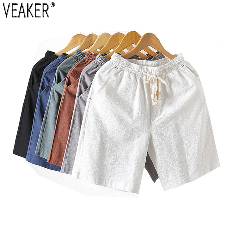 2019 New Men's Solid Flax Shorts Chinese Style Linen Solid Color Short Trousers Male Summer Breathable Flax Shorts Plus Size 5XL