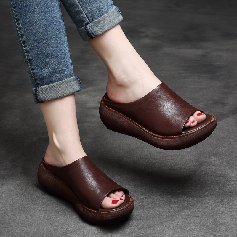 Tyawkiho Genuine Leather Women Slippers High Heels Wedges Slippers Summer Shoes Women Casual Leather Retro Handmade