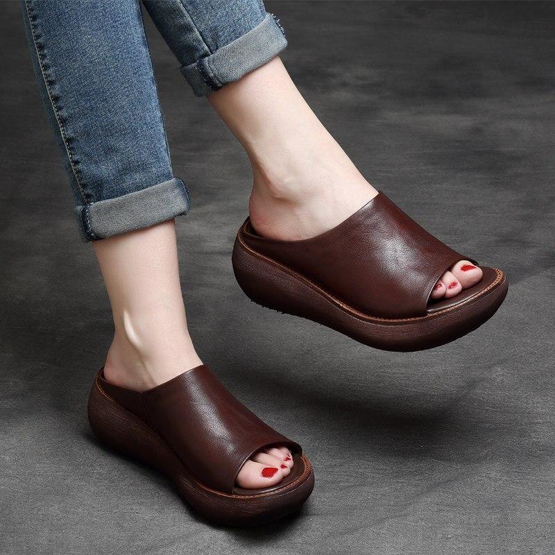 Tyawkiho Genuine Leather Women Slippers Coffee 7 CM High Heels Slippers Women Summer Shoes Casual Leather Retro Handmade Slipper