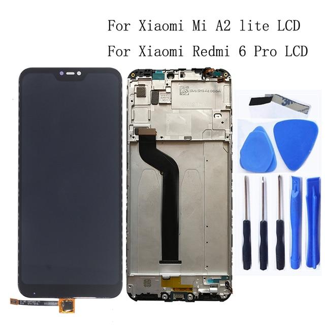 OriginalสำหรับXiaomi Redmi 6 Pro Mi A2 LiteจอแสดงผลLCD Touch Screen Digitizer AssemblyสำหรับRedmi 6 Proเปลี่ยนกรอบ