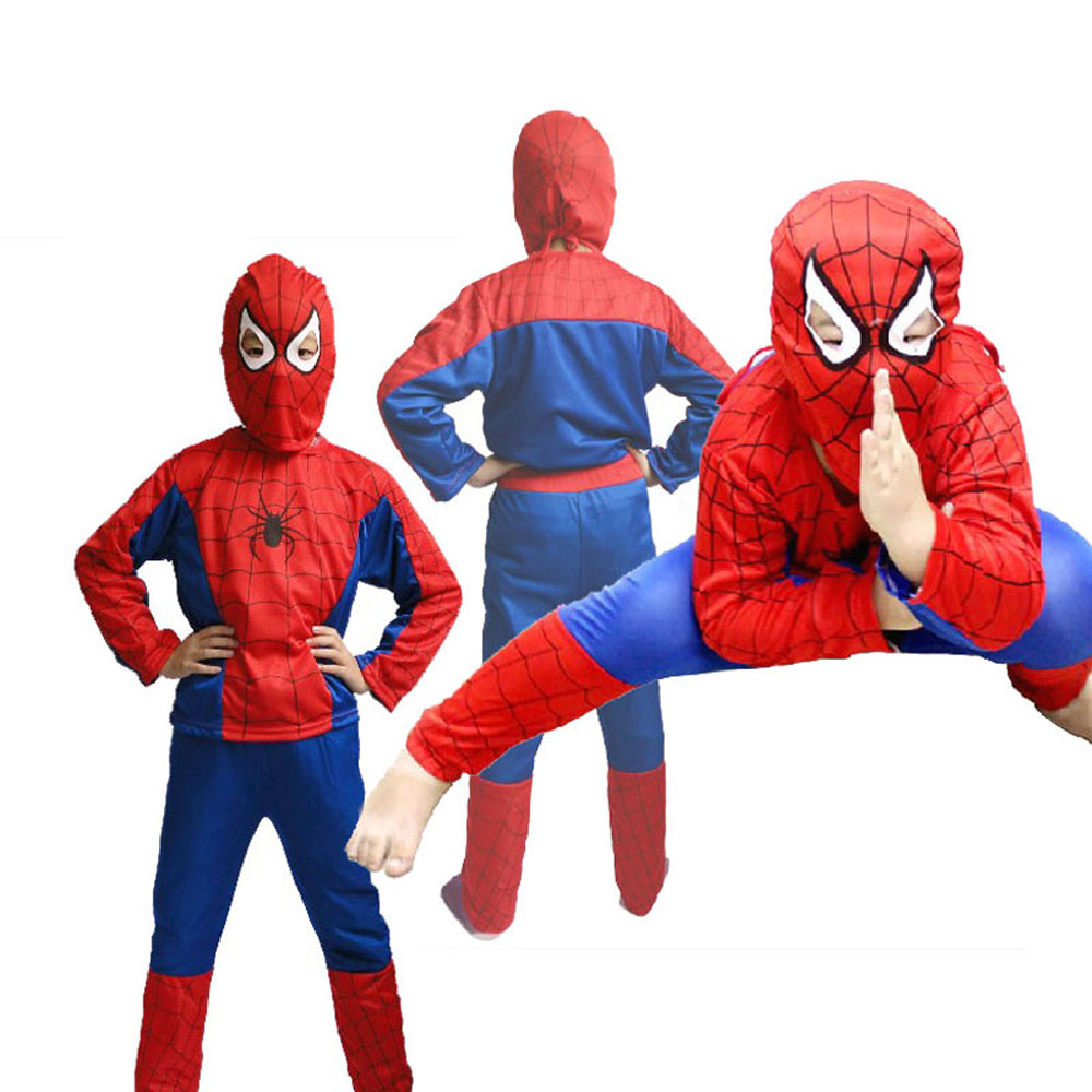 Kids Spiderman Cosplay Costume: Jacket & Trousers & Headcover for Boy Party Halloween Gift