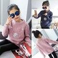 2017 Muchachas Del Resorte de Moda Suéteres para Niños Rosa Azul Cristal Floral Suéter de Cuello o Niños Pequeños Espesar Ajuste 4 ~ 14 años FH253