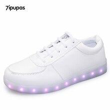 7ipupas White Glowing shoes 11 colors for Unisex Usb Charged Flash of light up shoes men Melbourne Shuffle Luminous led shoes