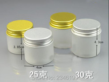 25G 30G 25ML 30ML Frosted Plastic Jar Aluminum Gold Silver Cap, PET Plastic Cosmetic Cream Container SkinCare Cream Pot, 50pcs