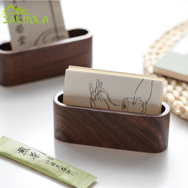 2pcs Lot Creative Wooden Business Card Box Name Holder Desktop Display Stands