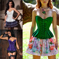 Pastoral style Women Sexy Lace up Corset Sexy Bustiers Club Party Dresses Plus Size S M L XL XXL