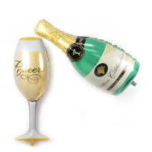 Champagne Bottle n Cup helium Foil Balloons Wedding Decorations