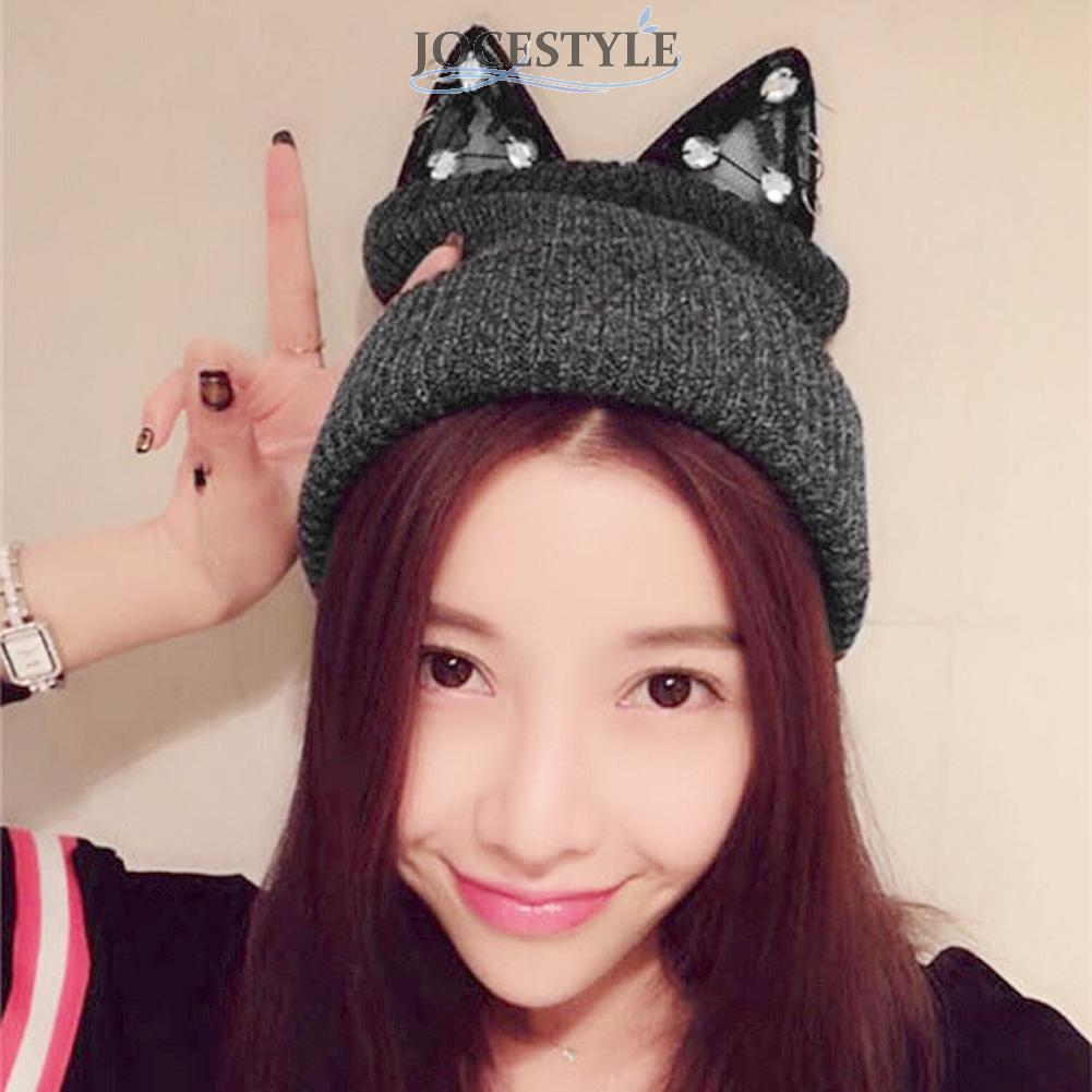 Women Winter Beanie Devil Horns Cat Ear Rhinestone Lace Knit Ski Wool Warm Winter Fashionable Breathable Cap Hat Black/gray футболка toy machine devil cat black