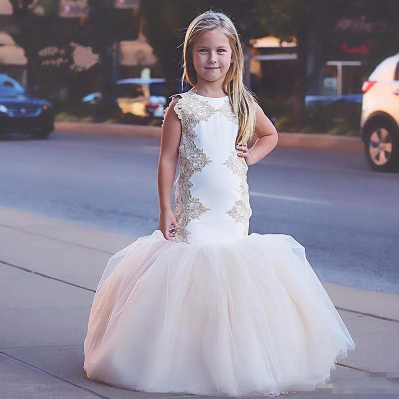 Customized New Flower Girl Dresses for Weddings Mermaid Lace Tulle Kids Pageant Party Gown Communion Dress White Ivory