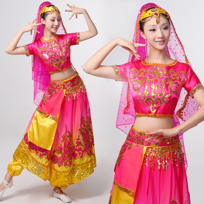 Free Shipping Girls Red Traditional China Uygur Costume -6824