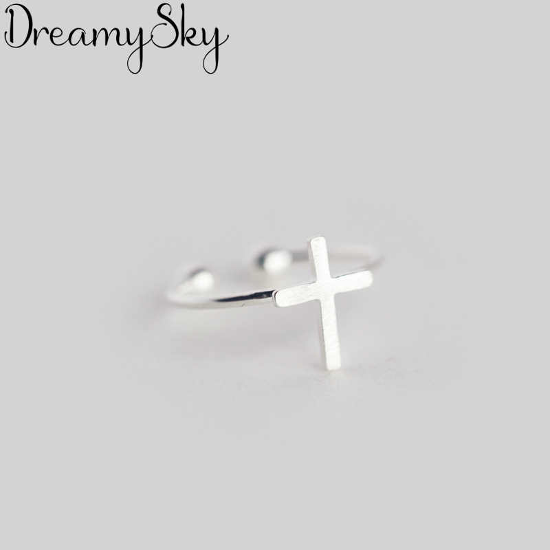 Bohemian Jewelry Fashion 925 Sterling Silver Cross Rings For Women Personality Ladies Vintage Engagement Finger Rings