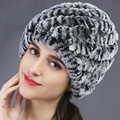Fur hat Guarantee 100% Natural Genuine Rex Rabbit Fur Cap Knitted Hats For Winter Fashion Women Beanies bone Warm Pineapple Cap