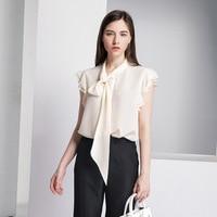 2019 women blouse silk women short sleeveless shirt summer new heavy silk french vintage ribbon bow soild V neck shirt L5
