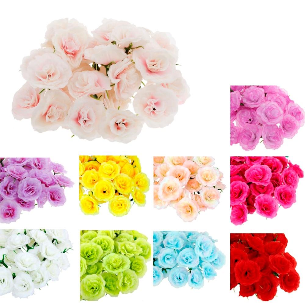 100pcs Artificial Silk Rose Flower Heads Bulk Home Wedding Party
