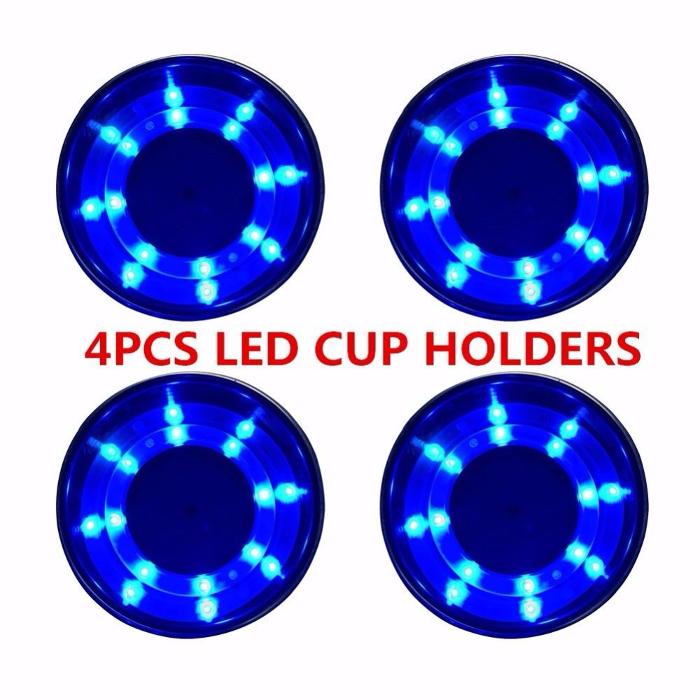 Marine Boat 8 LED Blue Stainless Steel Cup Drink Holder with Drain-for Car Truck