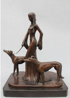 decoration Tibet copper silver 17Western Art sculpture Bronze Marble Belle Girl Pull Two Dog Wolf Statue