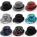 Mezclas de Algodón de moda sombreros de Ala Para Los Hombres Chapeu Panamá Jazz Masculino Trilby Caps Gángster Sombreros 10 unids/lote Envío Gratis
