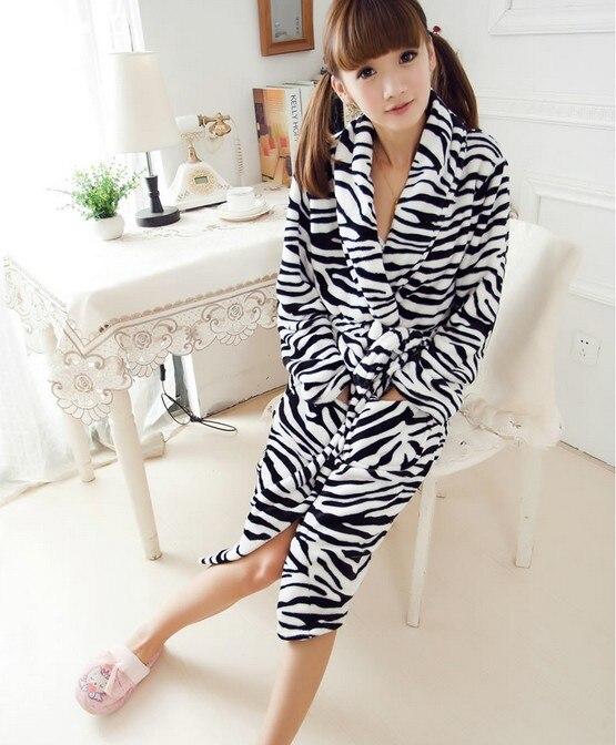 US $27.98 |Animal Zebra Leopard Flannel Bathrobe Fleece Long Plus Size  Dressing Gowns Women Lady Spring Autumn Winter Bath Robe Pajama XXL-in  Robes ...