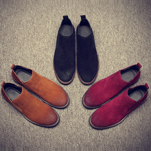 2018 New FashionVintage Real Leather Men Boots Chelsea Boots for Casual Walking Leisure Fur  Shoes Ankle Martins Fall Flats